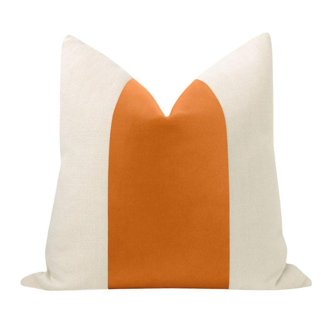 """Pair of beautiful 22"""" natural linen pillows with a Hermes Orange velvet center and solid natural linen reverse...."""