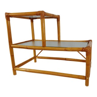 1960 Small Modern Stepped Rattan Table For Sale