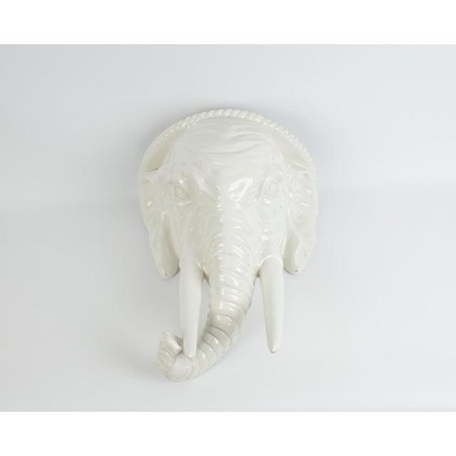 1970s 1970s Italian White Ceramic Elephant Wall Sconce Shelf For Sale - Image 5 of 13