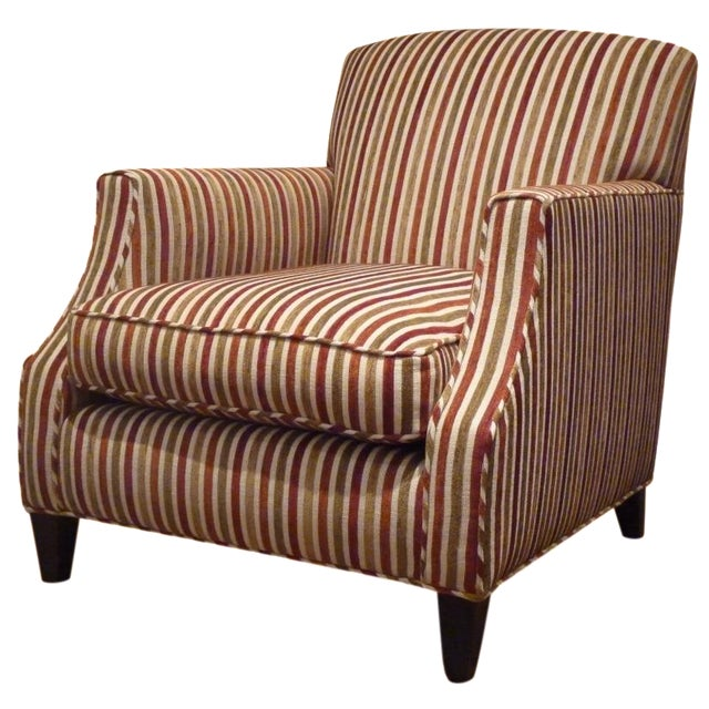 Crate & Barrel Striped Club Chair - Image 1 of 6