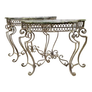 Vintage Wrought Iron & Marble Console Tables - a Pair For Sale
