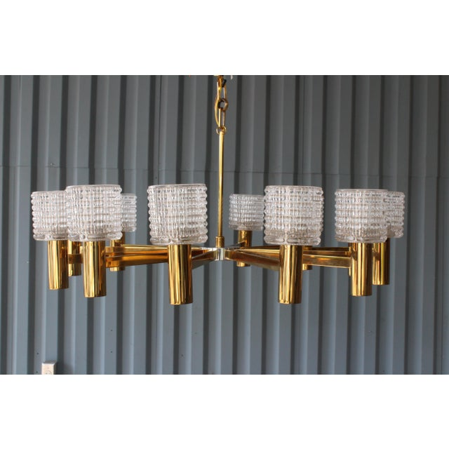 Arredoluce 1960s Italian Chandelier With Cut Crystal Shades by Arredoluce Monza For Sale - Image 4 of 7