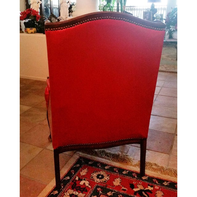 Antique Red Patent Leather Armchair - Image 8 of 11