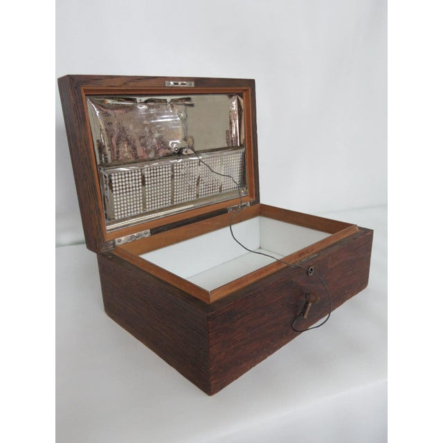 Early 1900s Oak Tabletop Cigar Tobacco Humidor Chest Box For Sale - Image 11 of 11