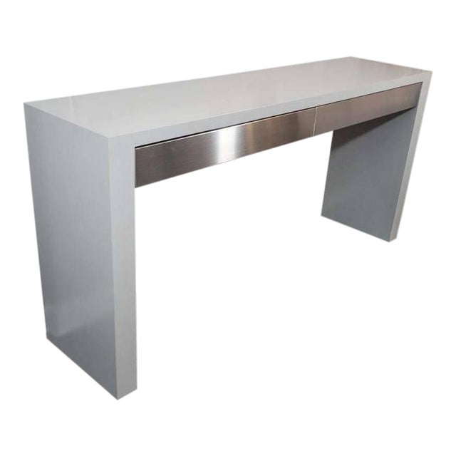 Custom Gray Stained Console with Brushed Stainless Steel Drawers For Sale