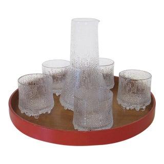 Tapio Wirkkala Thule Ice Glass Carafe ,Tray and Glass Set