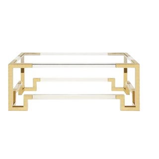 Worlds Away Contemporary Brass and Lucite Newman Coffee Table For Sale