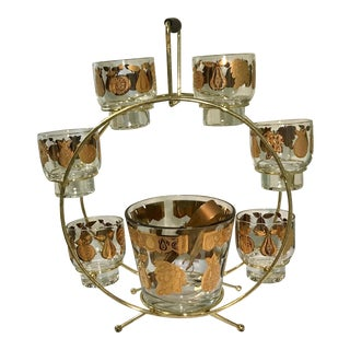 Mid-Century Culver Ltd. 22k Ferris Wheel 9 Piece Cocktail Set For Sale
