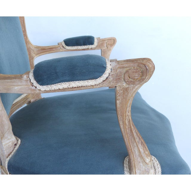 French Limed Louis XV Style Fauteuil Chairs With Velvet Mohair Seats With Trim For Sale - Image 10 of 13