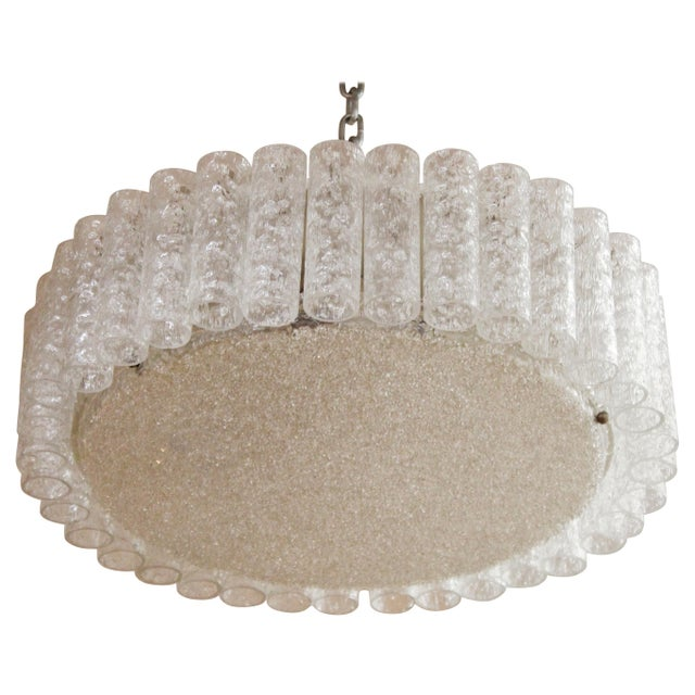 Kalmar Mid-Century Modern Frosted Glass Circular Ceiling Light Pendant For Sale - Image 9 of 9