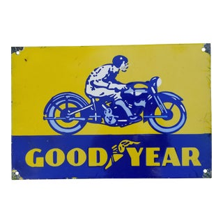 Enamel Goodyear Motor Cycle Sign For Sale