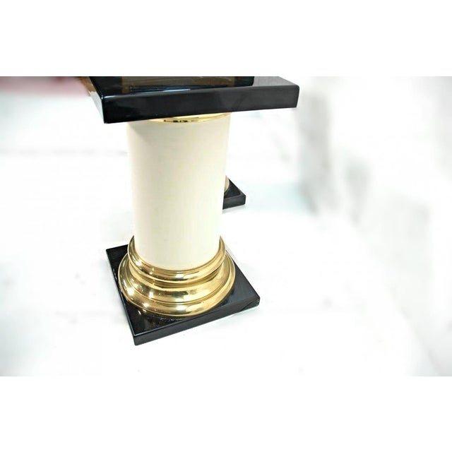 Mastercraft Mid-Century Modern Lacquer Brass Pedestal Tables - A Pair For Sale - Image 9 of 9