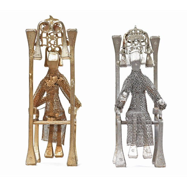 Brutalist Brutalist Style Handcrafted Steel Nail Silver and Bronze Chess Set For Sale - Image 3 of 9