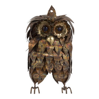 A Metal Brutalist Owl Table Sculpture 1960s For Sale