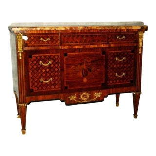 Early 19th Century Louis XVI Marquestry and Parquestry Marble-Top Commode For Sale