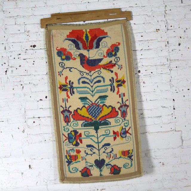 Textile Scandinavian Hooked Rug Wall Hanging For Sale - Image 7 of 12