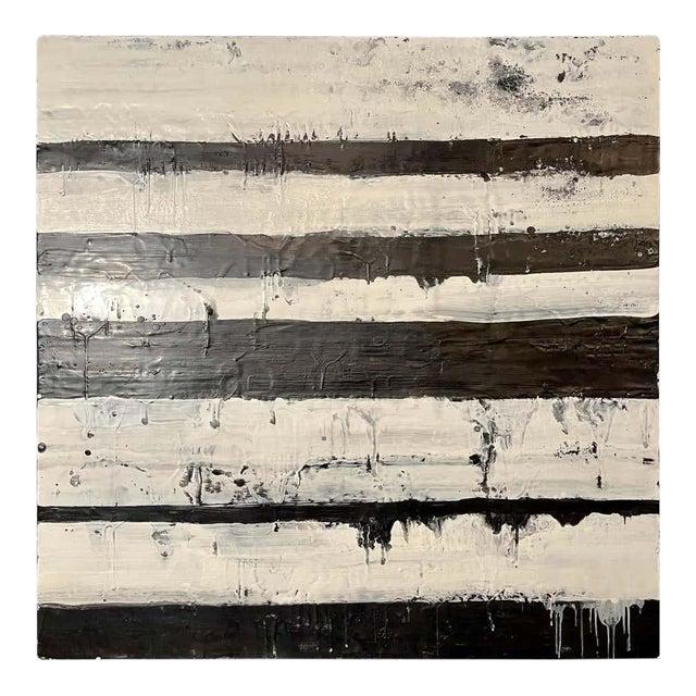 "Lynn Basa Encaustic Black and White Stripe Panel ""Mostly White"" 2012 For Sale"