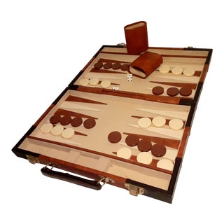 Vintage Backgammon Game With Brown Leatherette Case For Sale