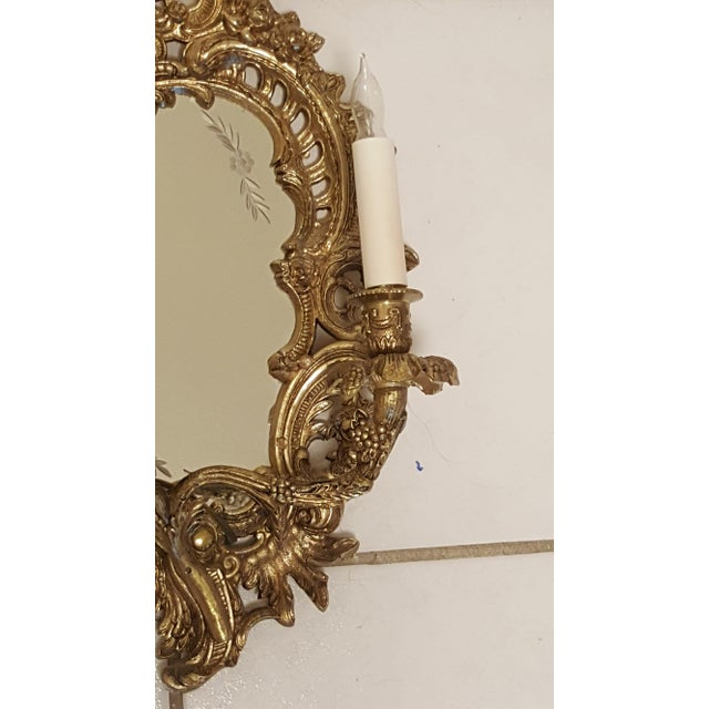 Antique Louis XVI Etched Gold Gilt-Bronze Mirrored Candelabra Wall Sconces - a Pair For Sale - Image 4 of 13