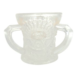 Antique Three Handled Pressed Glass Toothpick Holder For Sale