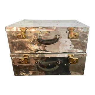 Vintage Polished Aluminum & Brass Hardware Cases -a Pair