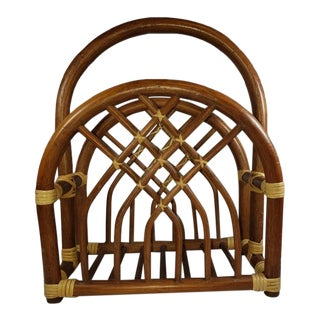 1970s Boho Chic Rattan Bamboo Vintage Magazine Rack For Sale