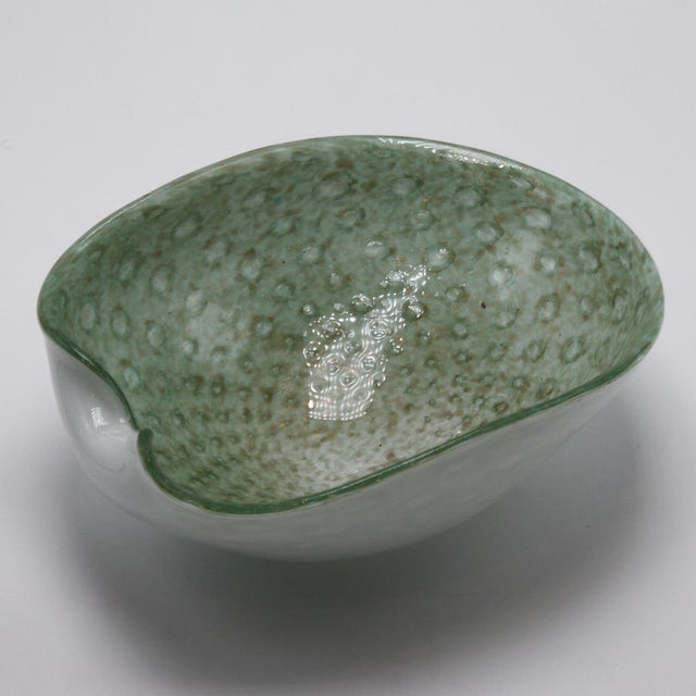 Murano Glass Bowl With Gold Flecks, C. 1960 For Sale - Image 4 of 5