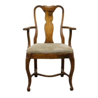 Late 20th Century Vintage Davis Cabinet Solid Walnut Wingate Queen Anne Arm Chair For Sale