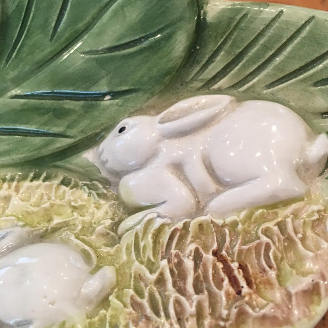 Ceramic Hand Painted Majolica Italian Bunny Dish For Sale - Image 7 of 11