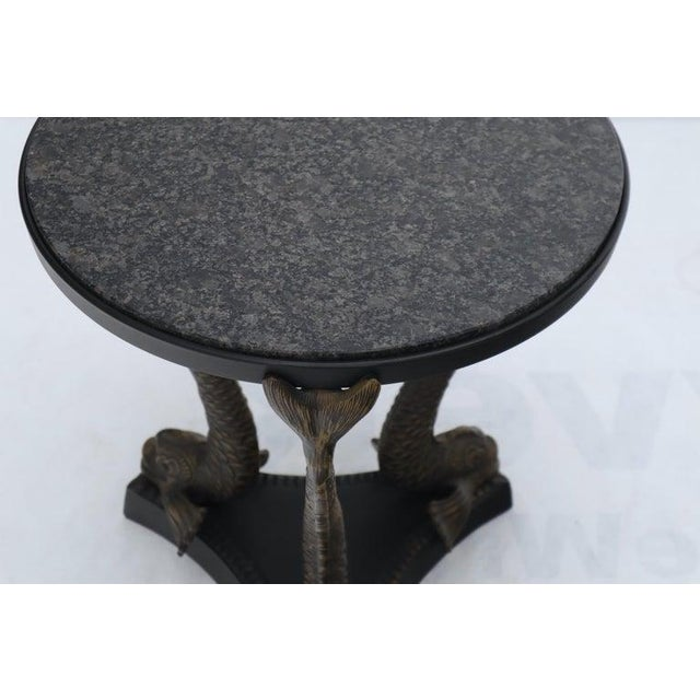 Metal Bronze Triple Dolphins Base Granite Top Round Side End Table Pedestal For Sale - Image 7 of 12