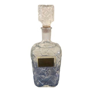 1950s Vintage Cut Glass Decanter With Basket Weave For Sale