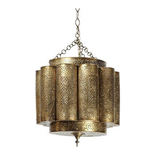 Large Brass Moroccan Chandelier in Alberto Pinto Style For Sale