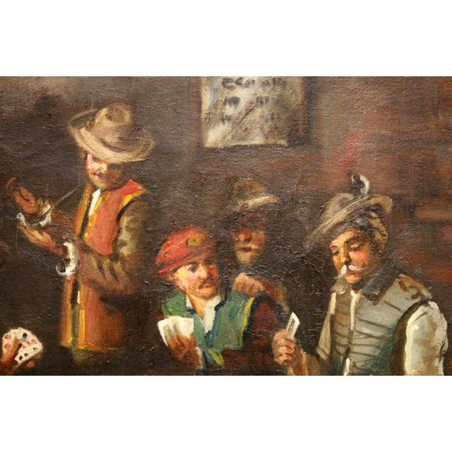 1930s Vintage Signed Oil on Canvas Genre Painting For Sale - Image 4 of 8