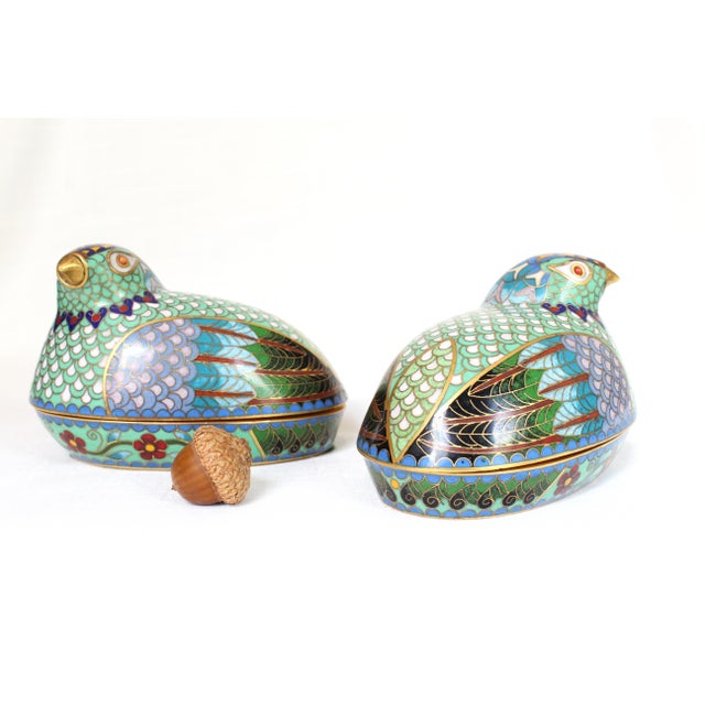 Chinese Cloisonné Quail/Partridges - a Pair For Sale - Image 4 of 5