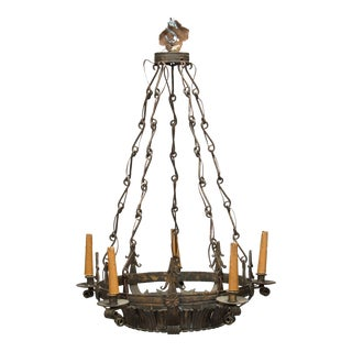 Dark Bronze Spanish Crown Form 6 Light Fixture with Original Decorative Chain For Sale
