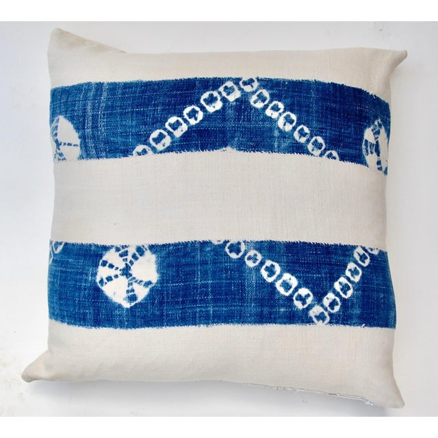 African African Indigo Tie-Dye Pillow Pair For Sale - Image 3 of 7