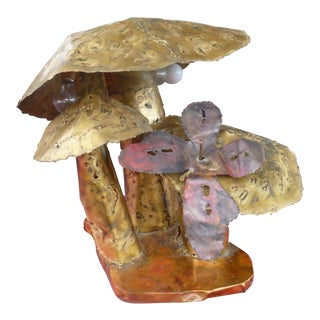 1970's Brutalist Dieter Torch Cut Brass & Copper Multiple Mushroom Lamp