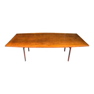"""Jens Risom 96"""" Walnut Boat Shaped Dining Conference Table Mid Century Modern For Sale"""