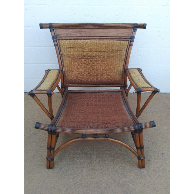 Asian Style Mandalay Rattan Club Chairs by Marge Carson With Rawhide Accent Bindings and Metal Accent Caps - a Pair For Sale - Image 10 of 12