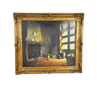 Belgian Home Interior Painting, Large Oil on Canvas, G. Schleregg For Sale