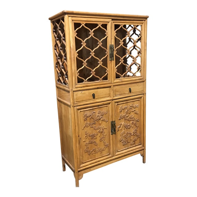 Vintage Boho Chic Asian Cabinet For Sale