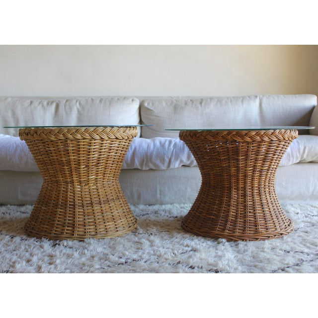 Glass Vintage Mid Century the Wicker Works Rattan Handwoven High End Tulip Side Tables Franco Albini Gabriella Crespi Style - a Pair For Sale - Image 7 of 12