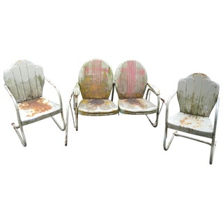 Mid-Century Metal Glider & Chairs - Set of 3 For Sale