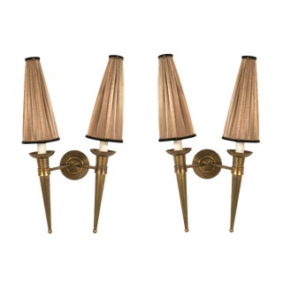French 1940s Brass Two Torch Form Arm Wall Sconces - a Pair For Sale