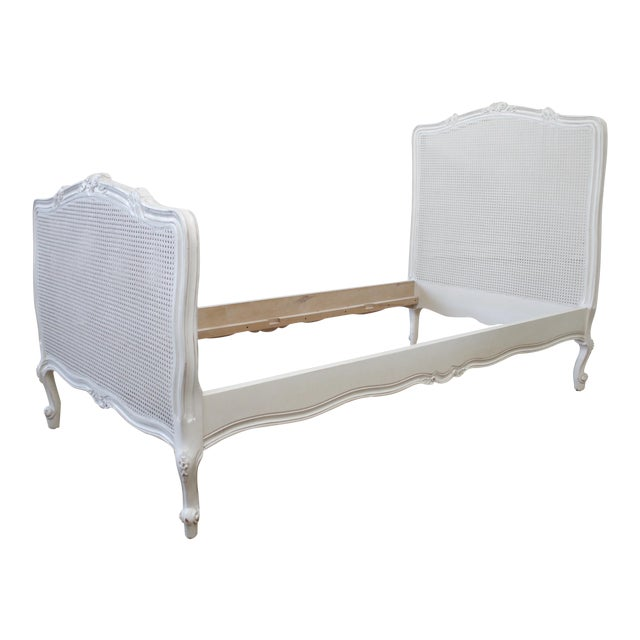 Reproduction Twin Carved and Painted Louis XV Style French Bed With Cane For Sale