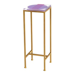Contemporary Ellsworth Acrylic Drinks Table – Base: Gold, Top: Intersection Pink/Purple For Sale