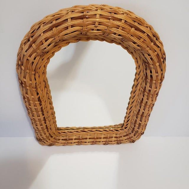 Wicker Vintage Natural Wicker Original 1970s Arch Wall Mirror For Sale - Image 7 of 10