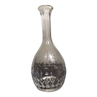 Vintage Etched Floral Crystal Glass Vase For Sale