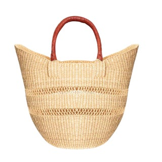 Bolga Ghana Orange Woven Basket For Sale