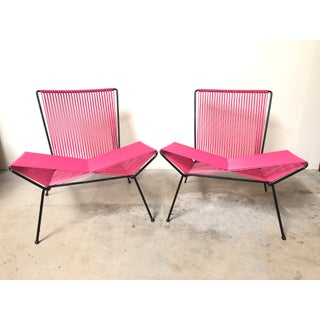 Mid Century Modern Outdoor Patio Iron & Cord Lounge Chair Preview